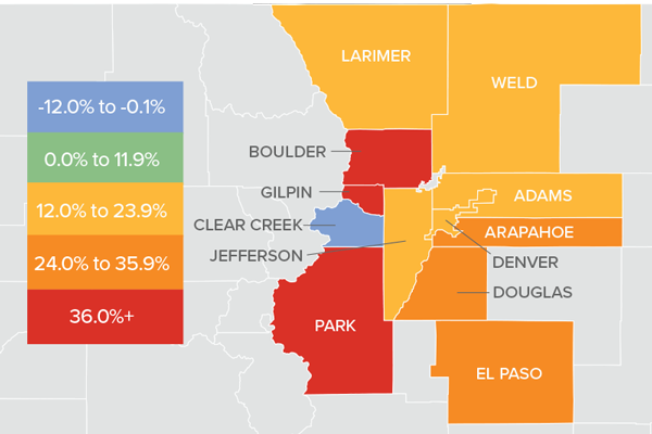 A map showing the real estate market percentage changes in various counties in Colorado.